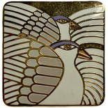 another view of Square Stud White Moondove Earrings by Laurel Burch