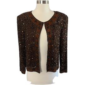 Brown Silk Beaded Jacket with Eyelet Closure by Stenay