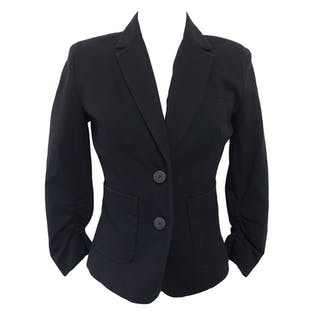 Stretchy Black Blazer with Scrunched Arms by Kenneth Cole
