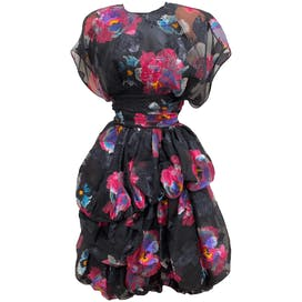 80's Stunning Layered Bubble Floral Dress by Anthony Muto for Muroci