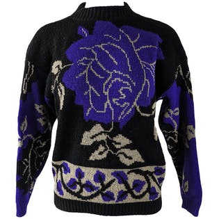 80's Black and Purple Floral Sweater by Arielle