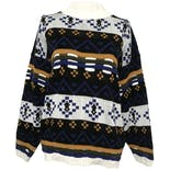 Blue, White, and Yellow Long Sleeve Knitted Mock Neck Sweater by In Resource