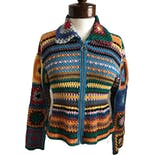 Crochet Colorful Sweater Zip Up by Express Tricot
