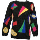 Black Metallic Knitted Long Sleeve Sweater with Multicolor Geometric Design by Rafaella