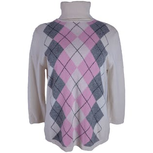 90's Cream Pink and Gray Argyle Turtleneck by Valerie Stevens