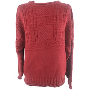 90'S Red Crochet Pattern Pullover Sweater by Banana Republic