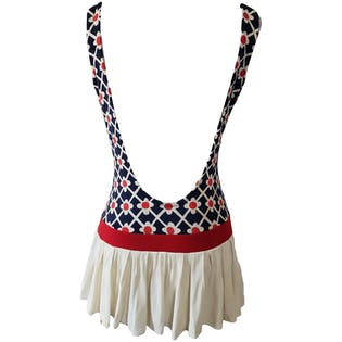 Red White and Blue Floral Swimsuit with Pleated Skirt by Glenbrooke