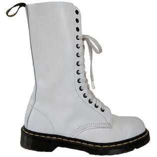 Tall White Military Boots by Dr. Martens