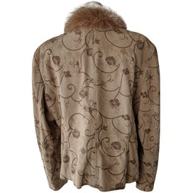 Tan Floral Leather Jacket with Fur Collar