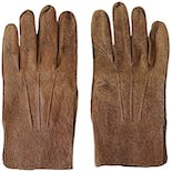 Brown Snakeskin Print Leather Gloves