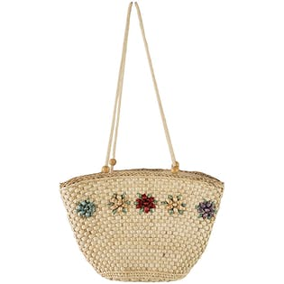 Tan Straw Woven Bag with Flower Details by Courtenay