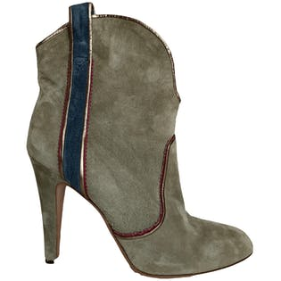 Taupe Booties with Blue Stripe by Mignani