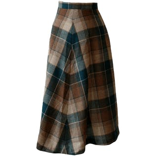 Teal and Brown Plaid Skirt