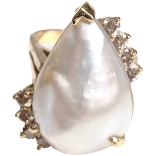 Teardrop Mable Pearl and Diamond Ring