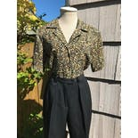 another view of Tiger Animal Print Poly Short Sleeved Blouse by Jordan