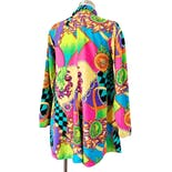 another view of 90's Colorful Baroque Rayon Print Jacket Blouse with Pockets by Gitano