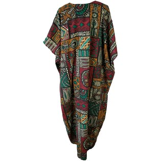 Red, Green and Brown Tribal Print Caftan