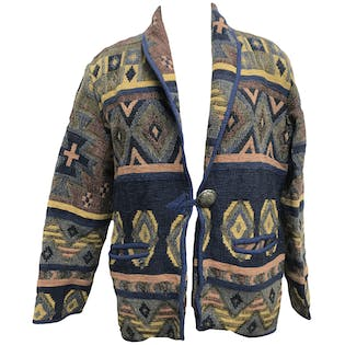 Blue Tribal Print Shawl Collar Knit Blazer by New Identity