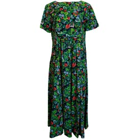 Tropical Leaf Print Pleated Maxi with Short Sleeves