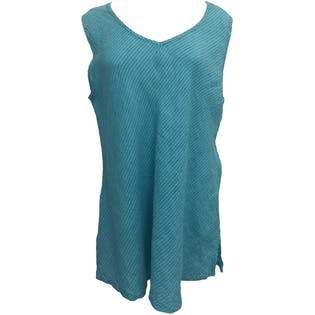 Turquoise Striped Linen V-neck Tank Top by Flax