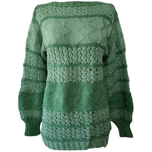 Two Toned Green Knit Sweater