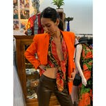 another view of 90's Double Breasted Bright Orange Blazer by Escada