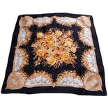 70's Black and Gold Floral Print Square Scarf by Gucci