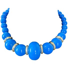 Blue Bobble Beaded Necklace with Gold Detail