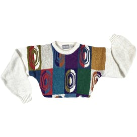 White and Colorful Retro Coogi Style Sweater