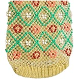 60's Yellow Mesh Bucket Bag with Multicolor Beading