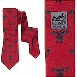another view of 80's Red Silk Gladiator Tie by Hermès Paris