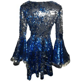 Blue and Silver Sequin Dramatic Fur Trimmed Bell Sleeve Skater Dress