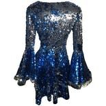 another view of Blue and Silver Sequin Dramatic Fur Trimmed Bell Sleeve Skater Dress