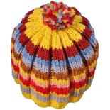 another view of 90's Multicolor Stripe Acrylic Knit Beanie Hat