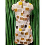 another view of 60's/70's Pale Blue Brown Yellow Mod Dress
