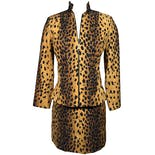 90's Cheetah Print Jacket and Skirt Set by Alberto Makali for Caché