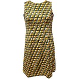 60's/70's Green Yellow Black White Clouds Mod Dress