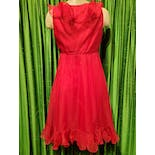 another view of 60's Deep Red Ruffle Cocktail Dress
