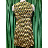 another view of 60's/70's Green Yellow Black White Clouds Mod Dress