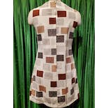 another view of 60's/70's Cream Brown Mod Dress with Two Gold Buttons