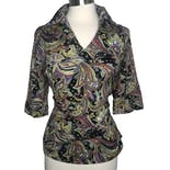 60's Multicolor Psychedelic Paisley Print Polo Collar Top