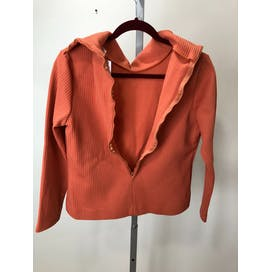 60's Ribbed Orange Zipper Back Turtleneck