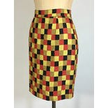 another view of 90's Bold Checker Print Pencil Skirt by Emanuel Zoo