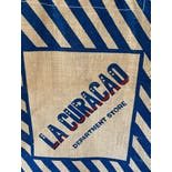another view of 60's La Curacao Burlap Department Store Tote
