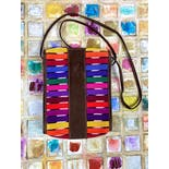 another view of Colorful Striped Leather Suede Crossbody Purse