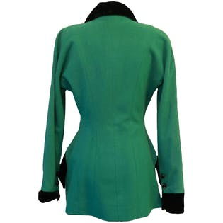 Vintage Green Wool Blazer with Black Velvet Trim and Curved Buttons by Karl Lagerfeld for Neiman Marcus