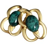 Vintage Malachite Green and Gold Stud Earrings