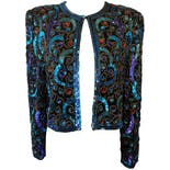 Sequin and Beaded Jacket In Deep Blue, Purple, and Turquoise by Scala