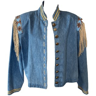 80's Southwestern Denim Jacket with Gold, Fringe, and Bead Details by Double Ranch Wear