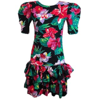 80's Hibiscus Floral Drop Waist Tiered Skirt Party Dress